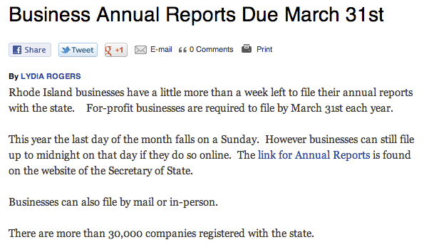 Business Reports Are Due