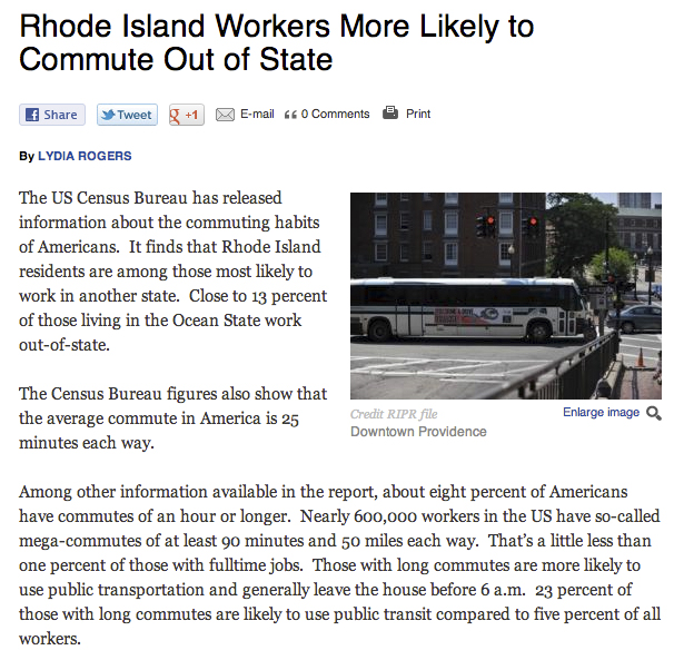 RI commuters more likely to commute out of state