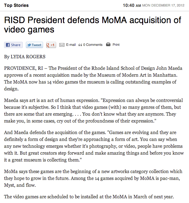 RISD President Defends MoMA Acquisition of  Video Games