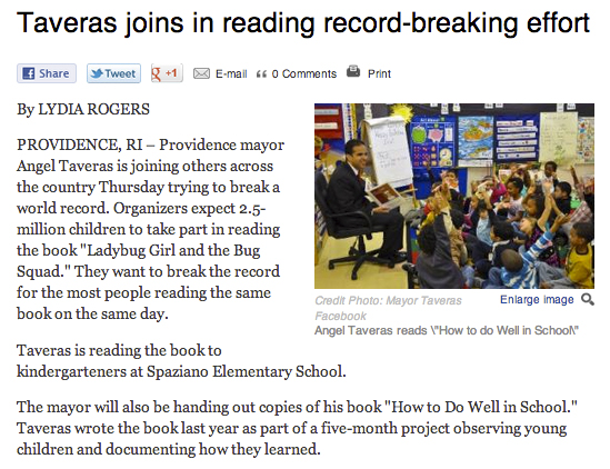 Taveras Joins in Reading Record