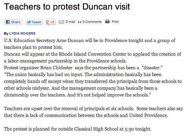Teachers to protest Duncan visit